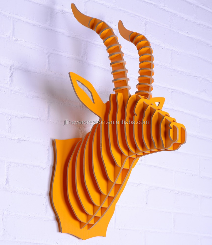 decorative wall animal head wood sculpture