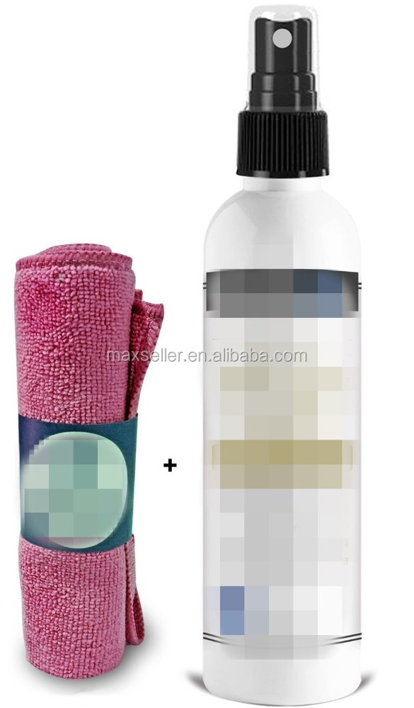 100% Natural & Organic Yoga Mat Cleaner, SAFE FOR ALL MATS, No Sticky , Cleans, Restores, Refreshes + Microfiber Cleaning Towel