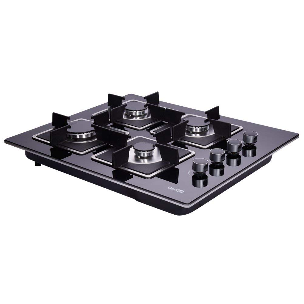 Deli-kit DK145-AA02 24 inch gas cooktop gas hob stovetop 4 Burners LPG//NG Dual Fuel 4 Sealed Burners Kitchen Tempered Glass Built-in gas Cooktop 110V AC pulse ignition