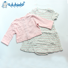 Promotional wholesale 2pcs/set cotton baby girl clothes baby girl dress
