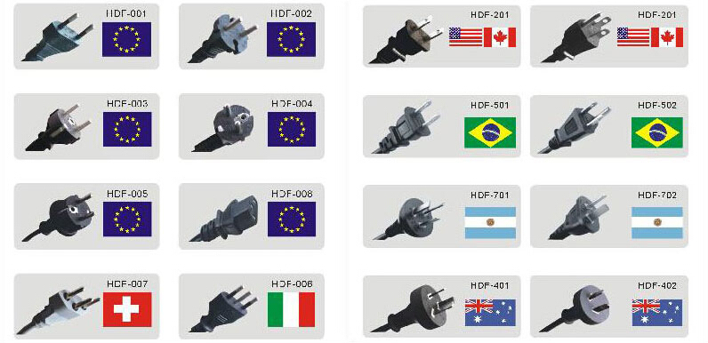 Different Types Of Electrical Plugs Power Cables For Rice