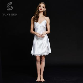 81048f0050 2018 Shaoxing Supplier Summer Silk Satin Lace Night Dress Womans Wear Sexy  Mini Strap Fork Nightgown