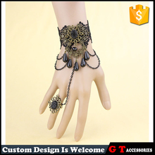 Unique Lace Jewelry Sets Design Fashion Gothic Bronze Alloy Bracelet With Resin Waterdrop Pendant Alloy Rine Wedding Jewelry Set