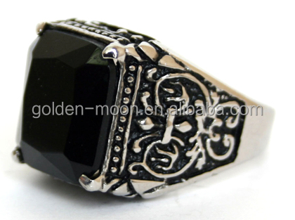 Stainless Steel Fancy Bowknot Black Crystal Gem Men's Fashion Ring Size10-12