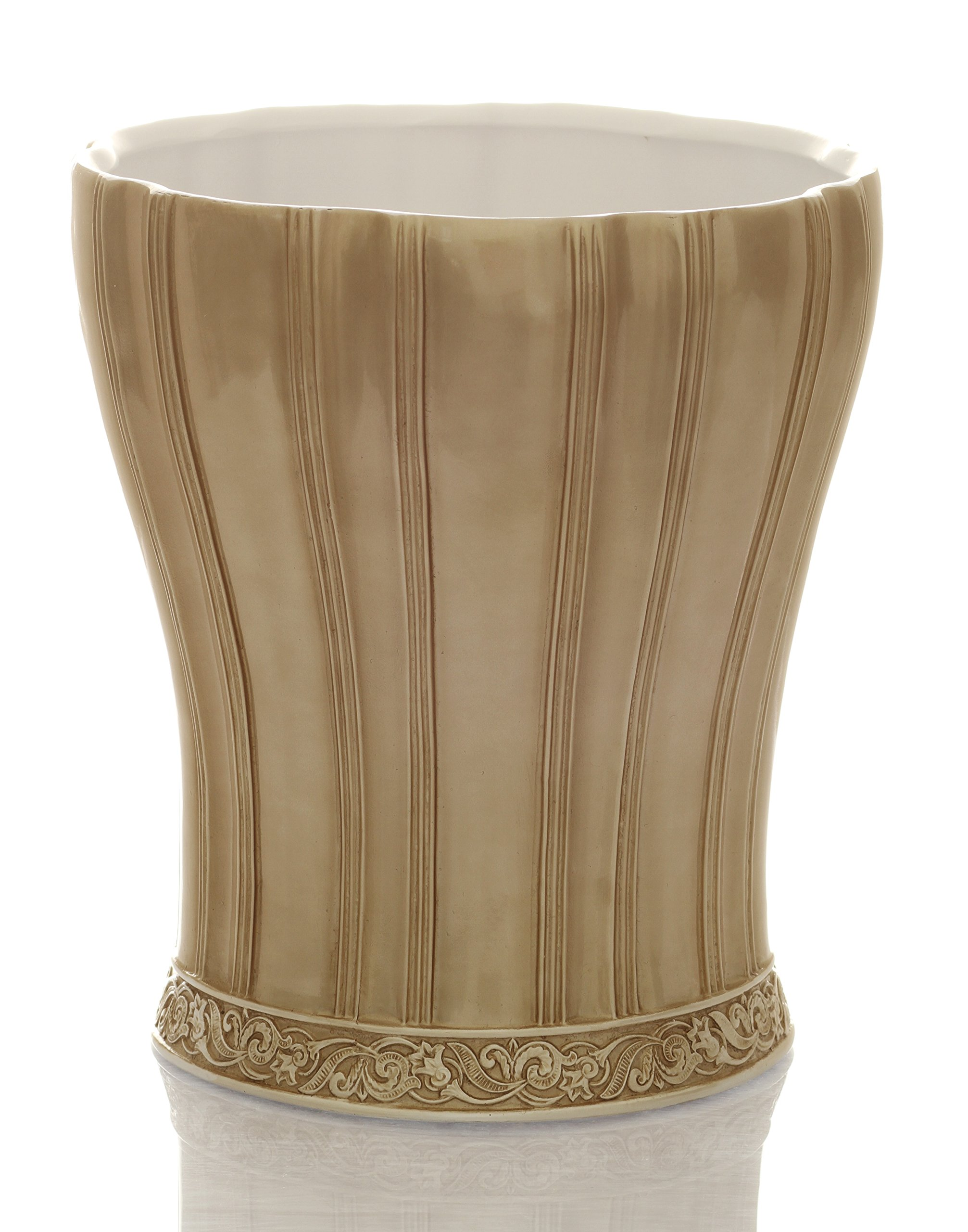 Ivory decorative waste bin bathroom trash can decorative wastebasket durable resin waste paper baskets