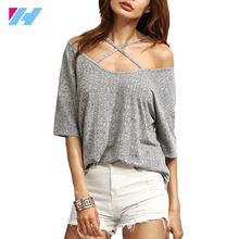 lady's summer women Half Sleeve Cold Shoulder Ribbed Crisscross casual t-shirt