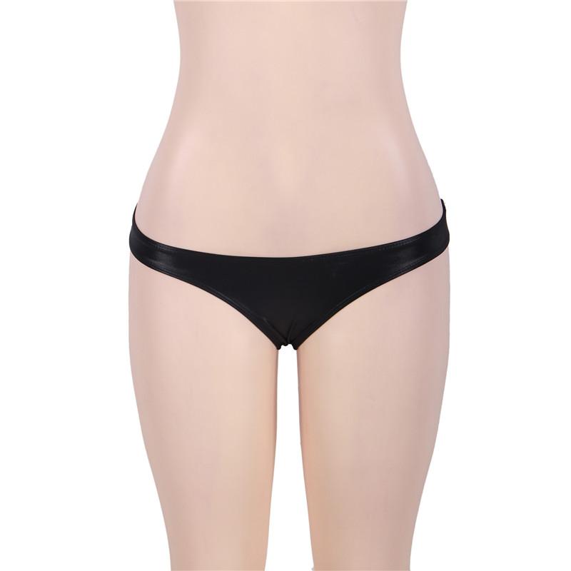 b07cf8ae51d Comeondear High Neck Black Lace Leather Bra And Panty Set Plus Size Women  Underwear Set Sex Women s Bra Bralette RJ80433