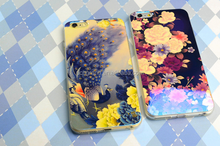 Blue Ray TPU Soft Shockproof Flower Design Skull pattern Silicon Case for iPhone 5 5S SE 6 6S 6 plus
