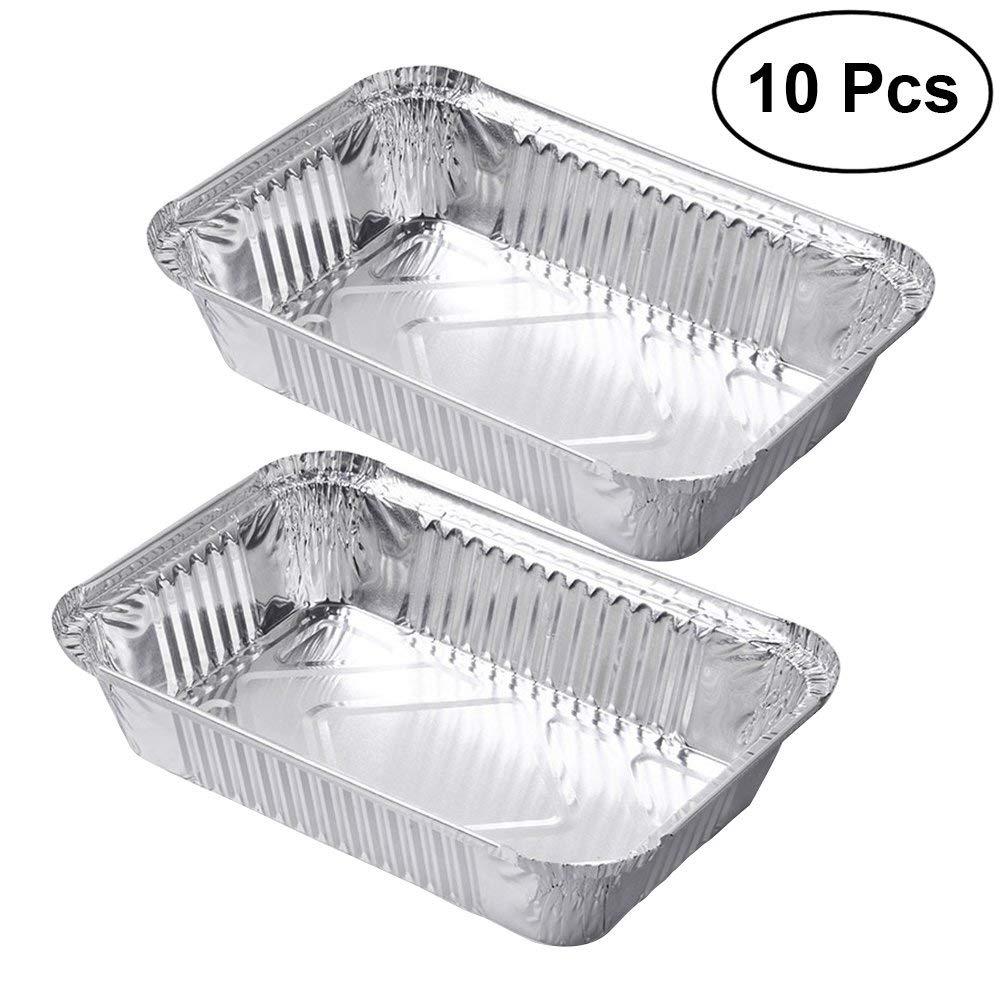10Pcs Aluminum Disposable Foil BBQ Drip Pan Baking Cooking Trays Foil Tin Liners