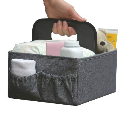 BEST FOLDABLE DIAPER & WIPES CADDY -Nursery Foldable Caddy-Portable Diaper Changing Organizer Portable Diaper Caddy-Huge Space for Bottles, Toys & Wipes. Perfect Baby Shower Gift (GRAY)