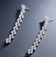 Hot sale Leaves long tassel crystal jewelry fashion AAA zircon gold earrings