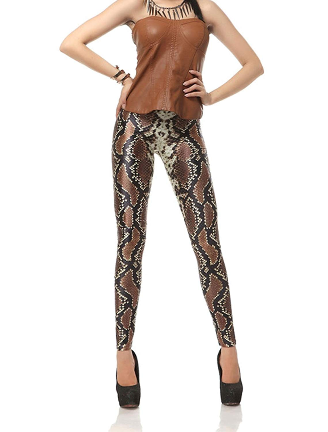 9644e855087bd Get Quotations · Cool Snake Pattern Print Skinny Leggings Floral Print Slim  Body Shaping Female Yoga Pants