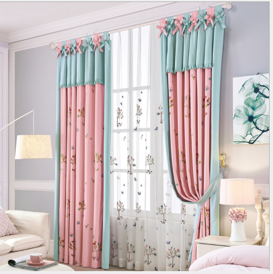 Pink Embroider Windows Curtains