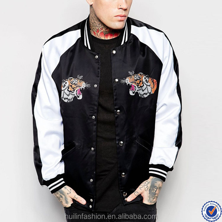 stripe ribbing collar and hem satin bomber jacket with contrast sleeve snap button front tiger embroidery custom bomber jacket
