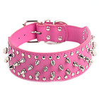 individual rivet fastener metal chain dog harness pu leather dog collar