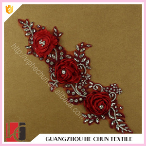 HC-4852-1 Hechun 2016 Hot Sale Iron on Rhinestone Bead Red Color Lace 3d Flower Applique for Wedding Dress