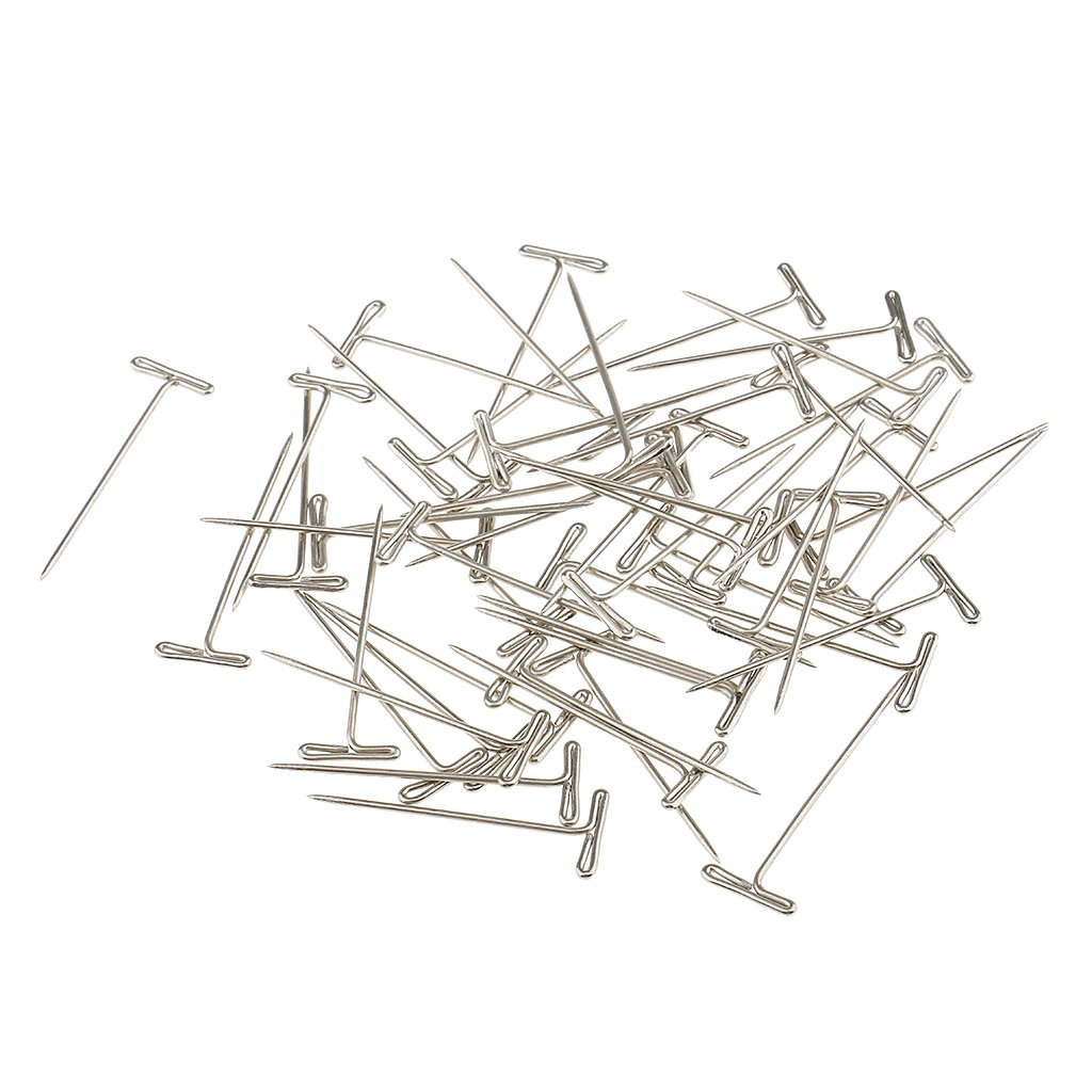 Jili Online Box of 50 Pieces Stainless Steel T-Shape Needles Pins Hair Weaving Tools for Wigs Toupee Fixed 38mm