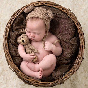842c3d220 Newborn Baby Crochet Knitted Photo Shoot Props Cute Beanie Baby Cap Baby  Winter Hat With Earflaps Photo Clothes