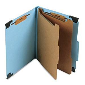 "Smead FasTab Hanging Pressboard Classification File Folder with SafeSHIELD Fasteners, 2 Dividers, 2"" Expansion, Letter Size, Blue, 10 per Box (65115)"