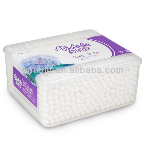 200pcs cotton swabs packed in pp square box/plastic cotton buds/cosmetic use