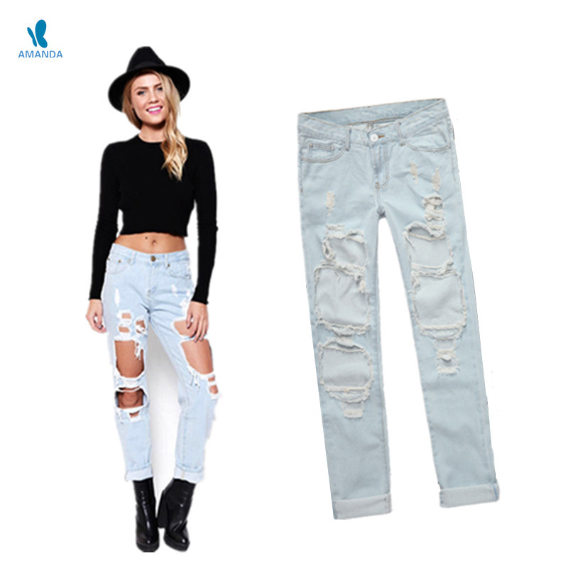 b784927579c Buy Boyfriend jeans for women casual vintage ripped jeans destroyed women  jeans pants plus size pockets ladies jeans with big holes in Cheap Price on  ...