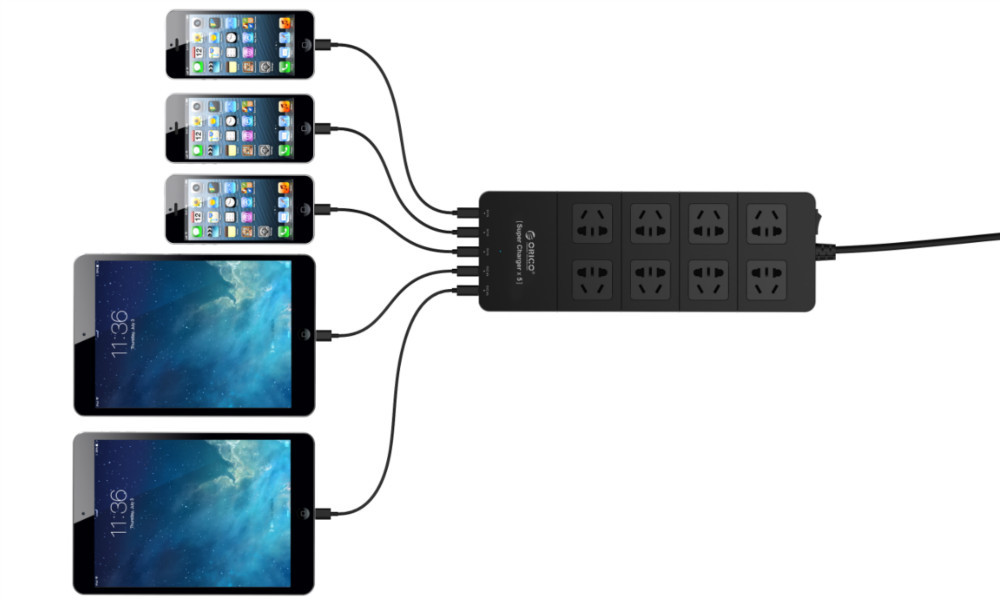 Wholesale ORICO HPC-8A5U 8 outlet electrical power strip plus 5 USB HUB surge protector