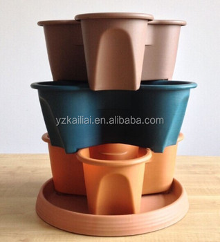 plant pots/plastic stackable planter pots with Patented Flow through Watering System and Hanging Chain, Terracotta