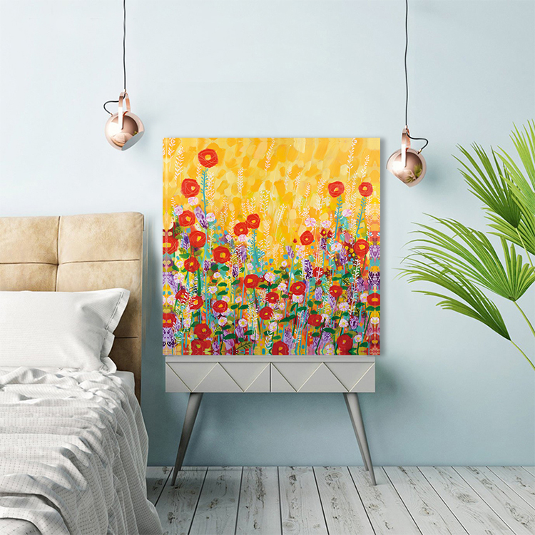 Impressionist 100% handmade yellow flowers van gogh Natural Scenery classical Oil Painting