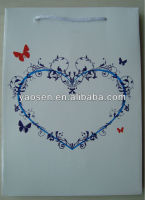210gr light up white kfaft paper shopping bag with heart and butterfly design