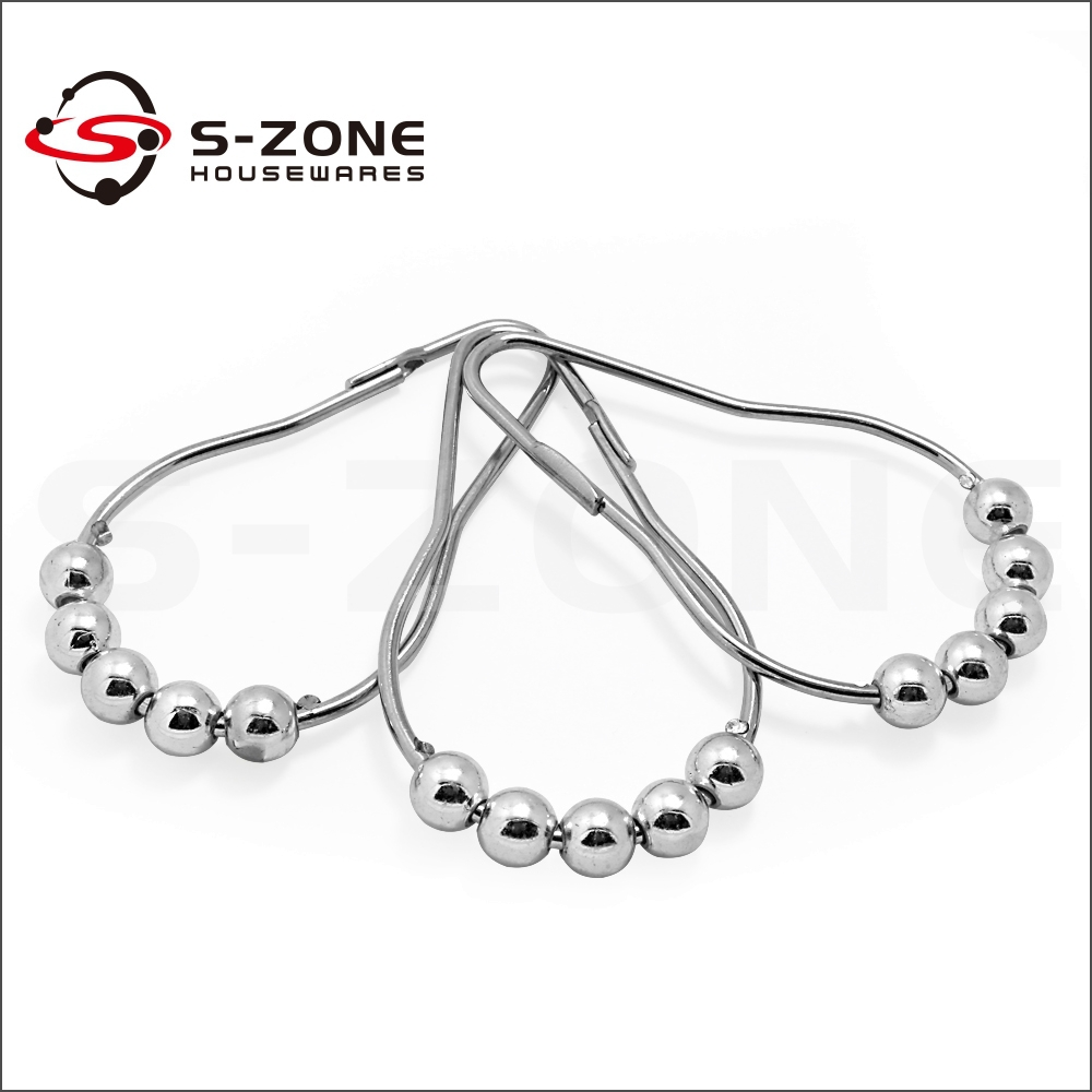 Foot bead metal ring shower curtain hook
