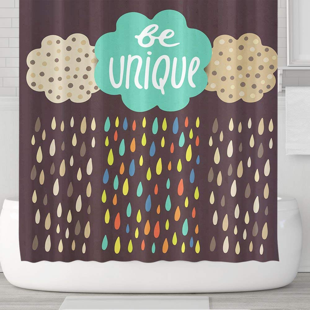 Get Quotations Orange Design Colorful Rain And Cloud Shower Curtain With 12 Plastic Hooks Be Unique Type