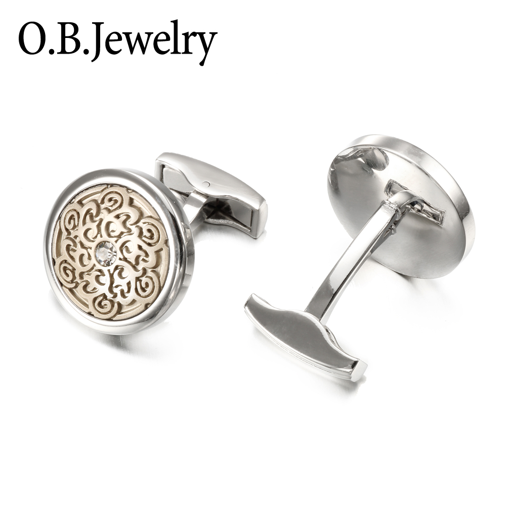 OB Jewelry-Low-Key Men Jewelry Brass Metal Crystal Jewelry Fashion Cufflinks Wholesale Price For Men's Shirt