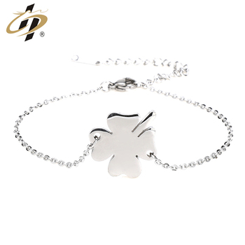 Promotional gift cheap titanium steel silver metal charm bracelets for women