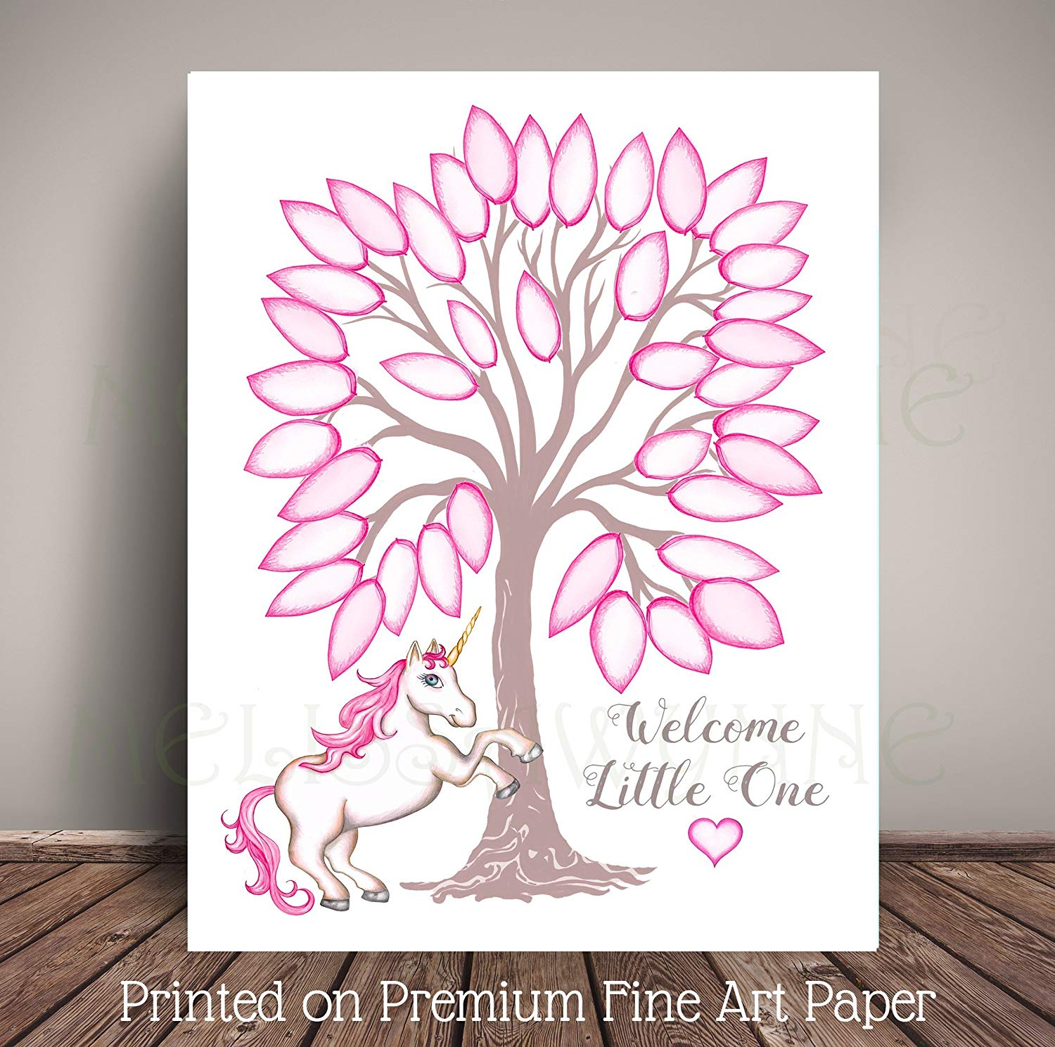 "Unicorn Nursery Art for Unicorn Baby Shower or Birthday""Guest Book"" Alternative, Tree Leaf Sign-in - Printed on Premium Fine Art Paper"
