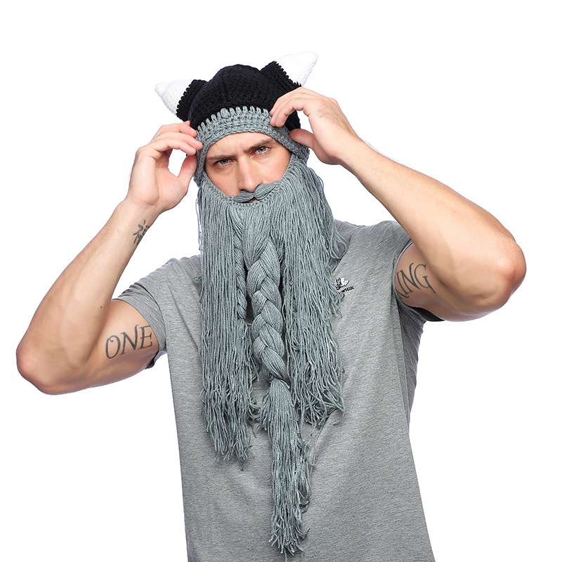 Acrylic Wig Beard Hats Hobo Mad Scientist Caveman  Caps Men Women Halloween Gifts Funny Party Handmade Knit Warm Winter Beanies