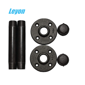 "industrial diy shelf wrought iron malleable fitting floor flange outdoor furniture 1/2"" NPT thread table legs pipe screw end cap"