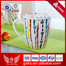 Lovely china porcelain bulk coffee milk mugs 360cc/13oz with single handle&lid new arrival wholesale (SHS4684-4)