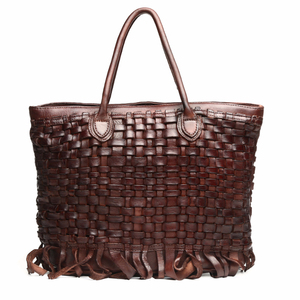 Luxury handmade brand design 100% genuine ladies women leather tote bag handbag with woven pattern
