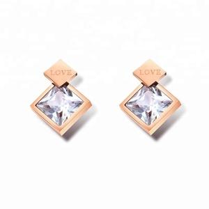 51a41647dd8d Best Sellers Products Cadena De Oro 14K 316L Stainless Steel Jewelry Simple  LOVE Flash Drill Earrings