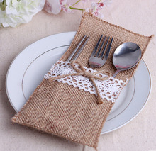 Hessian Burlap Lace Wedding Tableware Pouch Cutlery Holder Decorations Favor