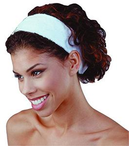 White Elastic Terry Cloth Spa Headband makeup hair band towel with logo