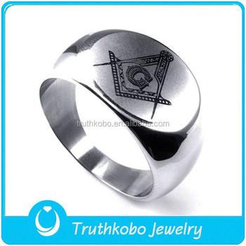 Tkb R0090 Masonic Signet Ring Silver Symbol For Men Freemasonry