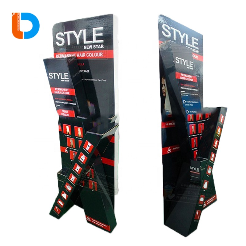 Shop Promotional Advertising Cardboard Floor POP Display for Wigs Hair Extension Products