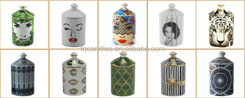 New arrival deboss custom logo luxury ceramic luxury unique candle jars