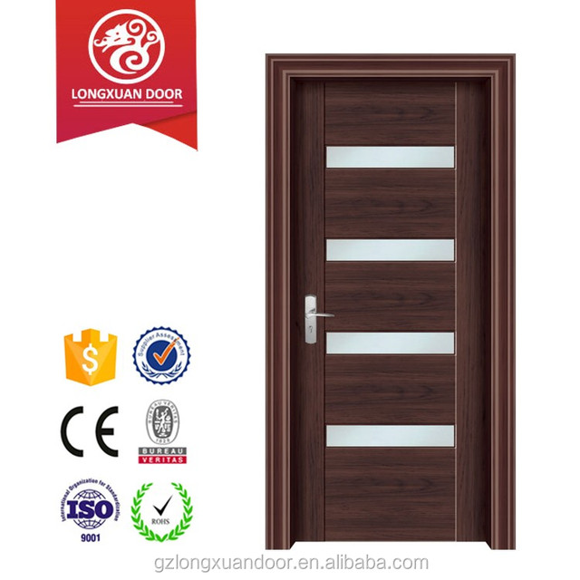 Internal Black Walnut Glass Insert Solid Wood Door
