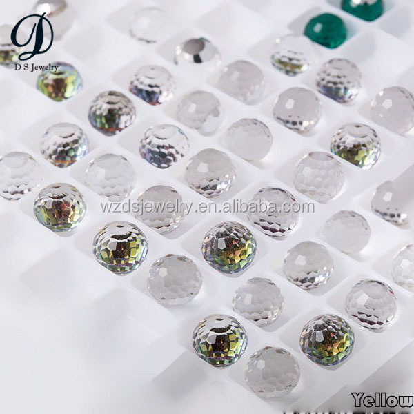Wholesale ball shape faceted white crystal beads