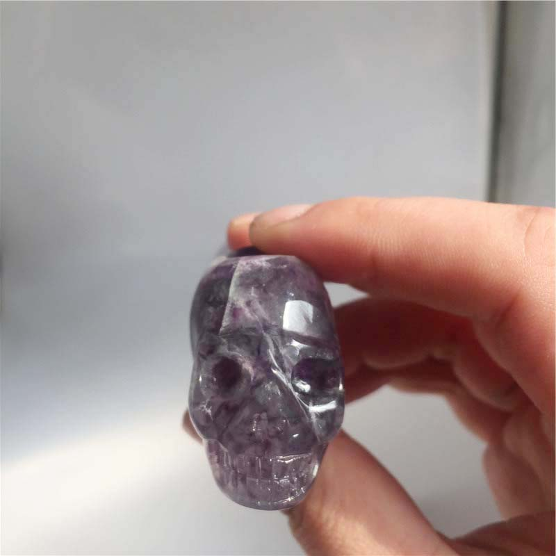 Unique Custom Skulls Natural Rainbow Fluorite Carved Tobacco Smoking Pipe