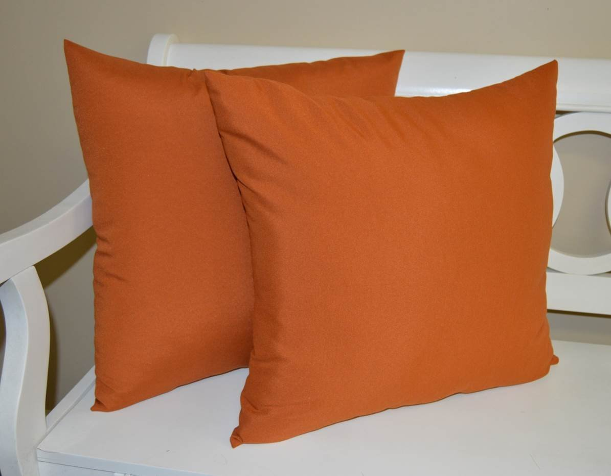 """Set of 2 - Indoor / Outdoor Over-sized / Large / Jumbo 24"""" Square Decorative Throw / Toss Pillows - Solid Pottery / Clay / Rust Orange"""