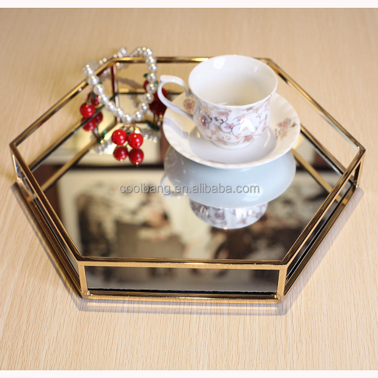 China wholesale small size hexagon gold serving tray tea tray