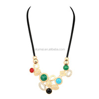 Vintage Leather Cord Necklace For Women Charms Indian Bib Choker Necklace Matte Gold Plating Fine Jewelry Wholesale Sale